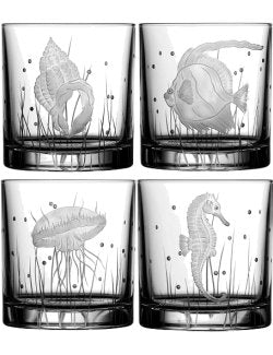 Sea Creatures Hand Engraved Varga Crystal 6-Pc. DOF/Rocks Glass Sets - Nautical Luxuries