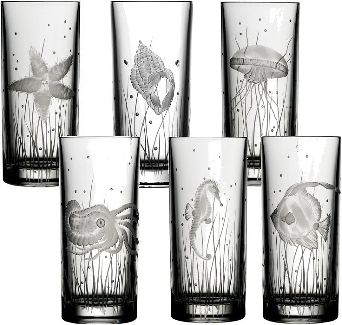 Sea Creatures Hand Engraved Varga Crystal 6-Pc. Hi-Ball Glass Sets - Nautical Luxuries