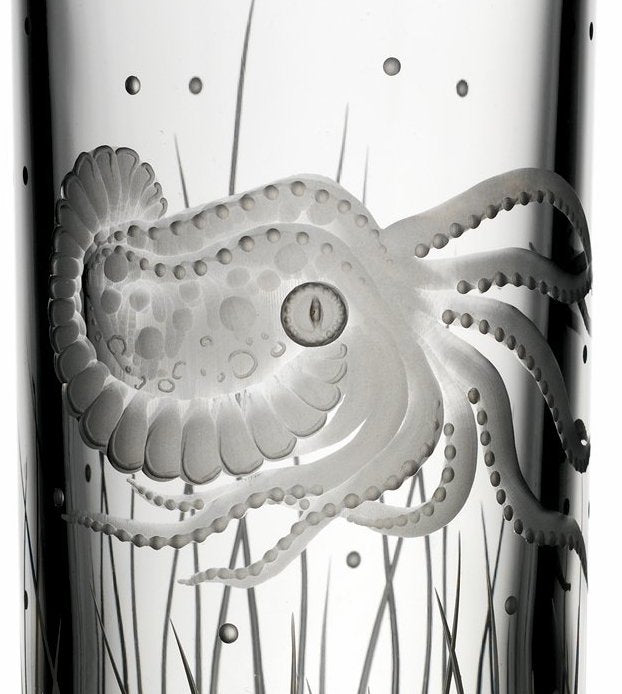 Sea Creatures Hand Engraved Varga Crystal 6-Pc. Hi-Ball Glass Sets