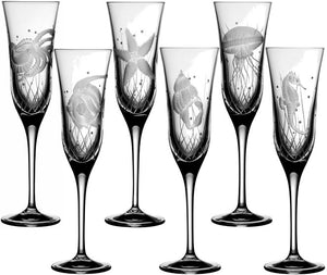 Sea Creatures Hand Engraved Varga Crystal 6-Pc. Champagne Flute Set - Nautical Luxuries