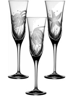 Sea Creatures Hand Engraved Varga Crystal 6-Pc. Champagne Flute Set