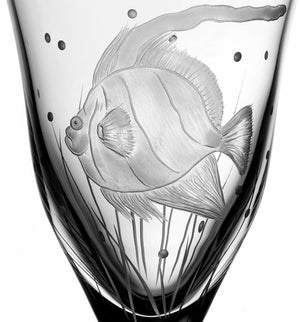 Sea Creatures Hand Engraved Varga Crystal 6-Pc. Water Glass Set - Nautical Luxuries