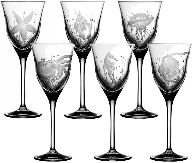 Sea Creatures Hand Engraved Varga Crystal 6-Pc. Wine Glass Set - Nautical Luxuries