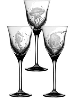 Sea Creatures Hand Engraved Varga Crystal 6-Pc. Wine Glass Set