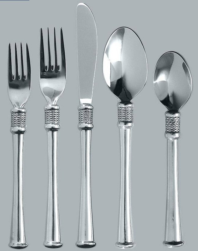 Delicieux Whip Stitched Rope Flat Base South African Pewter Flatware