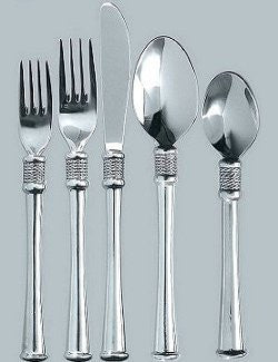 Whip Stitched Rope Flat Base South African Pewter Flatware