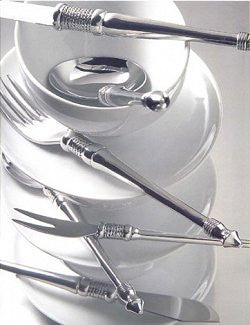 Whip Stitched Rope Pointed Tip South African Pewter Flatware