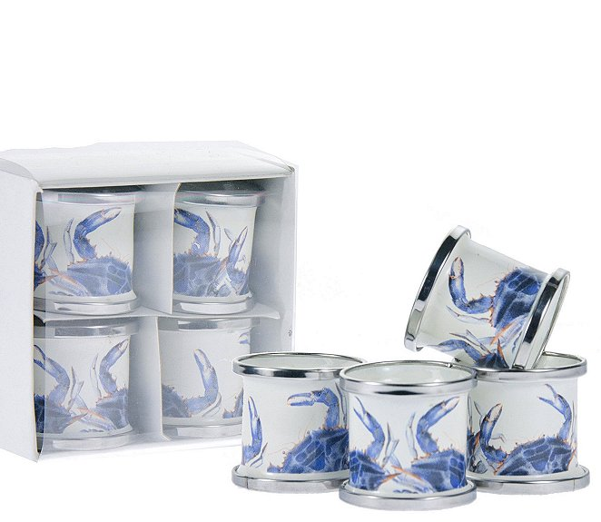 Porcelain Enamel Coastal Napkin Rings - Nautical Luxuries