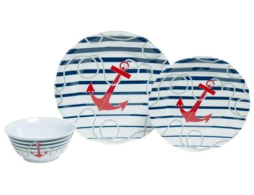 Non-Skid Nautical Stripes Luxury Melamine Dinnerware - Nautical Luxuries