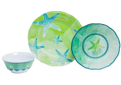 Non-Skid Starfish  Luxury Melamine Dinnerware - Nautical Luxuries