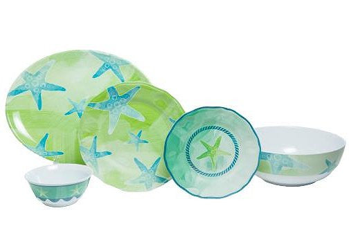 Non-Skid Starfish  Luxury Melamine Dinnerware