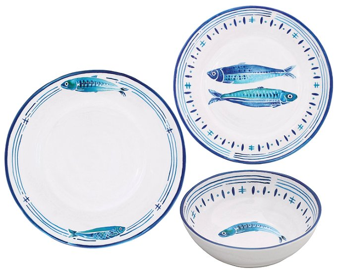 Porto Cervo Pesce Melamine Dinnerware - Nautical Luxuries