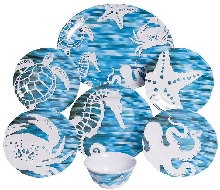 Non-Skid Sea Life Silhouette Luxury Melamine Dinnerware - Nautical ...