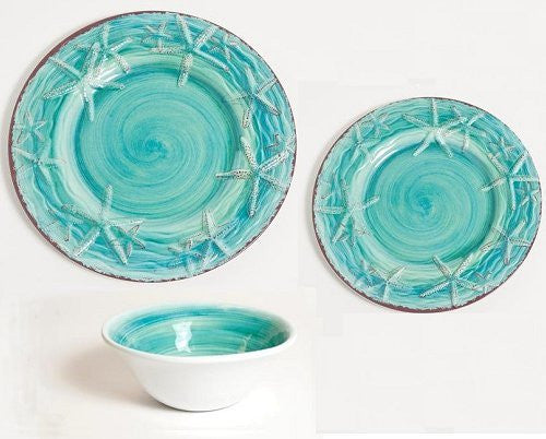 Turquoise Terracotta Style Starfish Luxury Non-Breakable Dinnerware - Nautical Luxuries