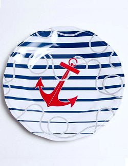 Non-Skid Nautical Stripes Luxury Melamine Dinnerware
