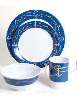 Non-Skid Lines & Anchors Melamine Dinnerware Set - Nautical Luxuries
