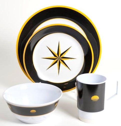 Non-Skid Onyx Compass Rose Melamine Dinnerware Set
