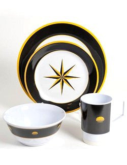 Non-Skid Onyx Compass Rose Melamine Dinnerware Set - Nautical Luxuries