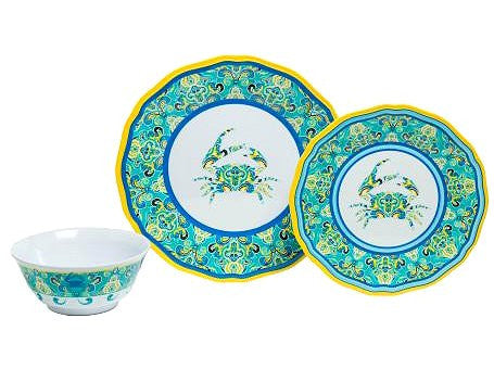 Non-Skid Sea Crab Luxury Melamine Dinnerware - Nautical Luxuries