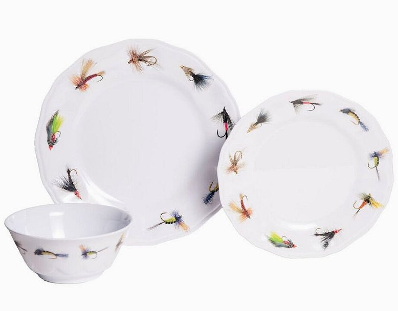 Non-Skid Fly Fishing Luxury Melamine Dinnerware - Nautical Luxuries