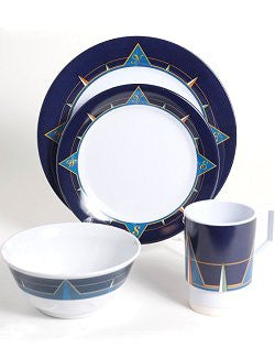 Non-Skid Navy Compass Points Melamine Dinnerware Set - Nautical Luxuries