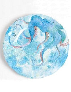 Non-Skid Blue Tentacles Luxury Melamine Dinnerware - Nautical Luxuries