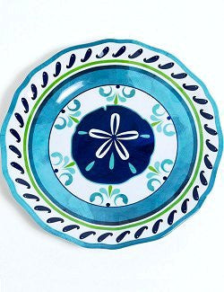 Non-Skid Seaside Sand Dollar Luxury Melamine Dinnerware - Nautical Luxuries