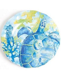 Non-Skid Tropical Sea Turtle  Luxury Melamine Dinnerware