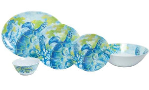 Non-Skid Tropical Sea Turtle  Luxury Melamine Dinnerware - Nautical Luxuries