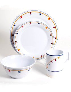 Non-Skid  Waving Flags Melamine Dinnerware Set - Nautical Luxuries