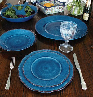Rustic Beach Cottage Aegean Blue Melamine Dinnerware - Nautical Luxuries