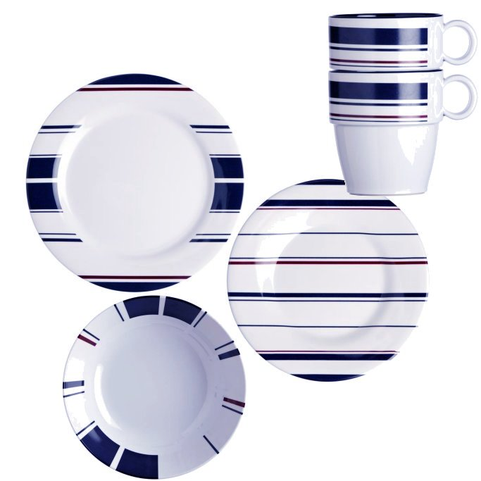 Non-Skid Saint-Tropez Stripe Dinnerware For Six