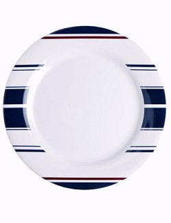 Non-Skid Saint-Tropez Stripe Dinnerware For Six - Nautical Luxuries