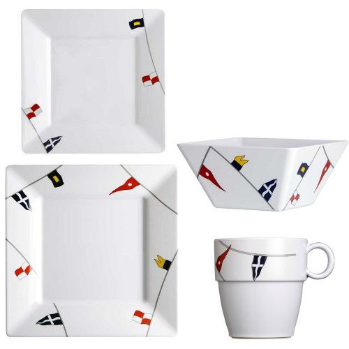 Non-Skid Waving Pennants Square Dinnerware For Six