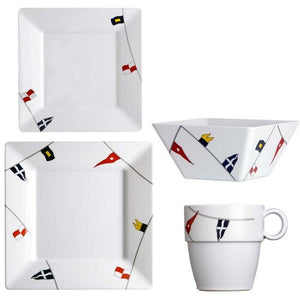 Non-Skid Waving Pennants Square Dinnerware For Six - Nautical Luxuries