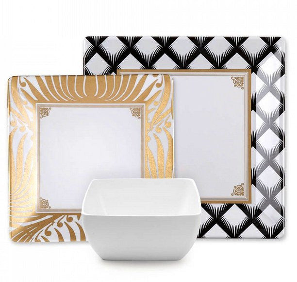 Hamptons Black Tie Melamine Dinnerware - Nautical Luxuries