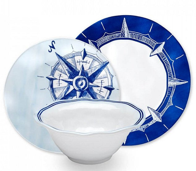 Seafarer Compass Rose Melamine Dinnerware - Nautical Luxuries