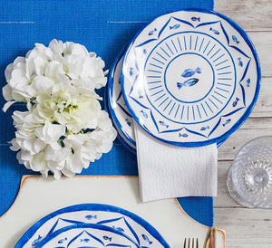Old World: Santorini Blue Luxury Melamine Dinnerware - Nautical Luxuries