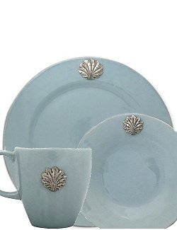 Pewter Scallop Shell Hand Glazed Porcelain Stoneware