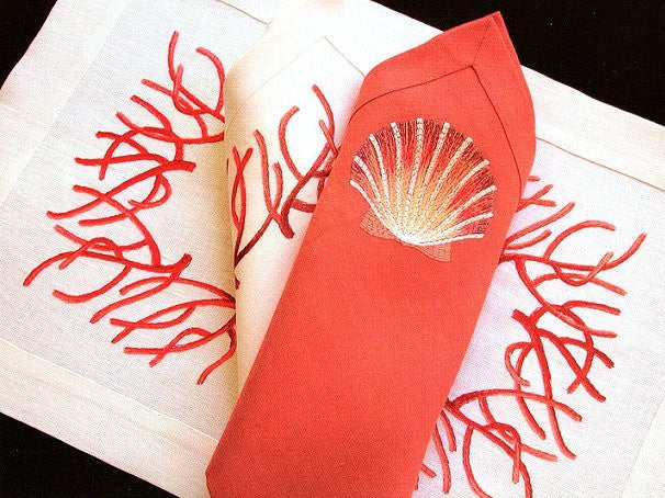 Luxury Embroidered Coral Table Linens - Nautical Luxuries