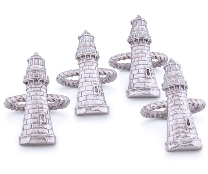 Grande Lighthouse Napkin Ring Set - Nautical Luxuries
