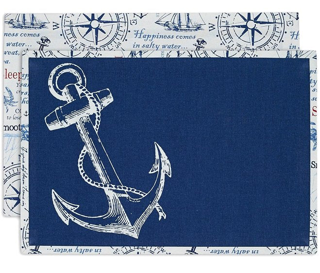 Reversible Nautical Anchor Placemats & Napkins Set - Nautical Luxuries