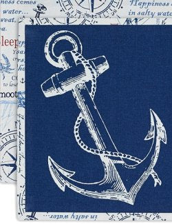 Reversible Nautical Anchor Placemats & Napkins Set