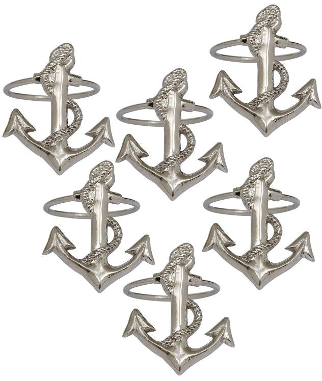 Classic Fouled Anchor Napkin Rings - Nautical Luxuries