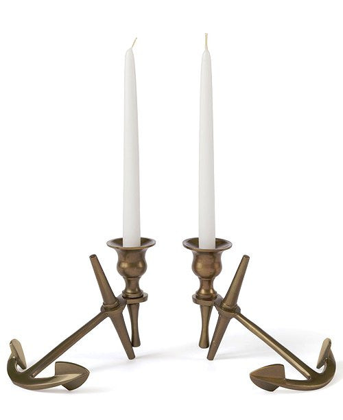 Brass Anchor Taper Candle Holder Set - Nautical Luxuries