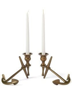 Brass Anchor Taper Candle Holder Set