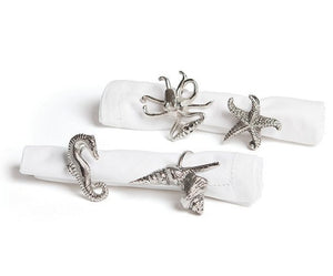Exotic Sea Life Napkin Ring Set - Nautical Luxuries