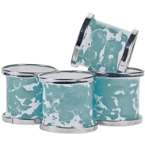 Water Splash Porcelain Enamel Napkin Rings - Nautical Luxuries