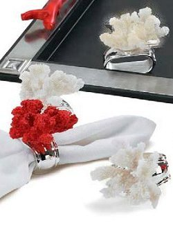 Exotic Coral Napkin Ring  Sets - Nautical Luxuries