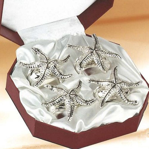 Dancing Starfish Silver Napkin Ring Set - Nautical Luxuries